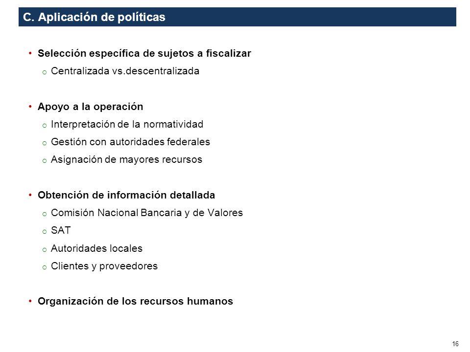 C. Aplicación de políticas