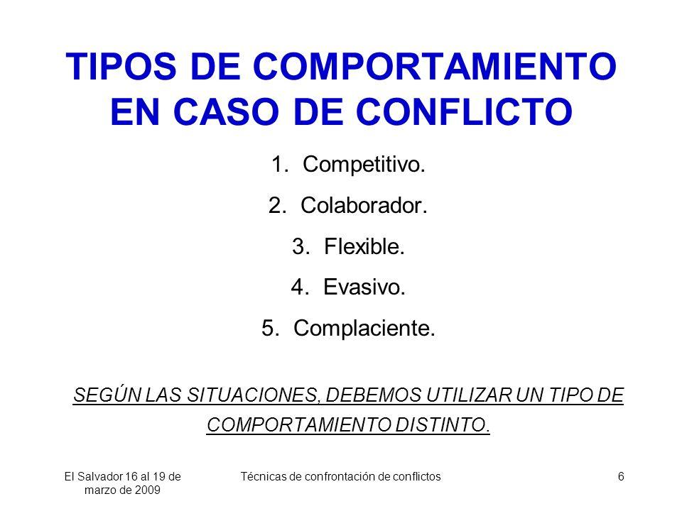 TIPOS DE COMPORTAMIENTO EN CASO DE CONFLICTO