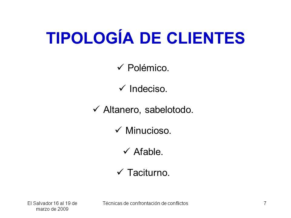 TIPOLOGÍA DE CLIENTES Polémico. Indeciso. Altanero, sabelotodo.