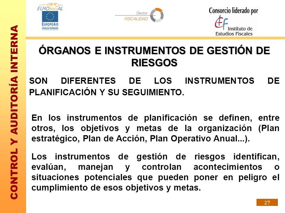 ÓRGANOS E INSTRUMENTOS DE GESTIÓN DE RIESGOS
