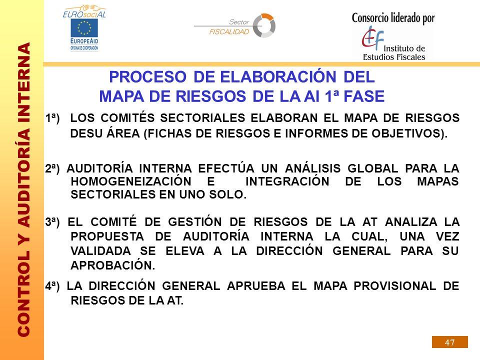 PROCESO DE ELABORACIÓN DEL MAPA DE RIESGOS DE LA AI 1ª FASE