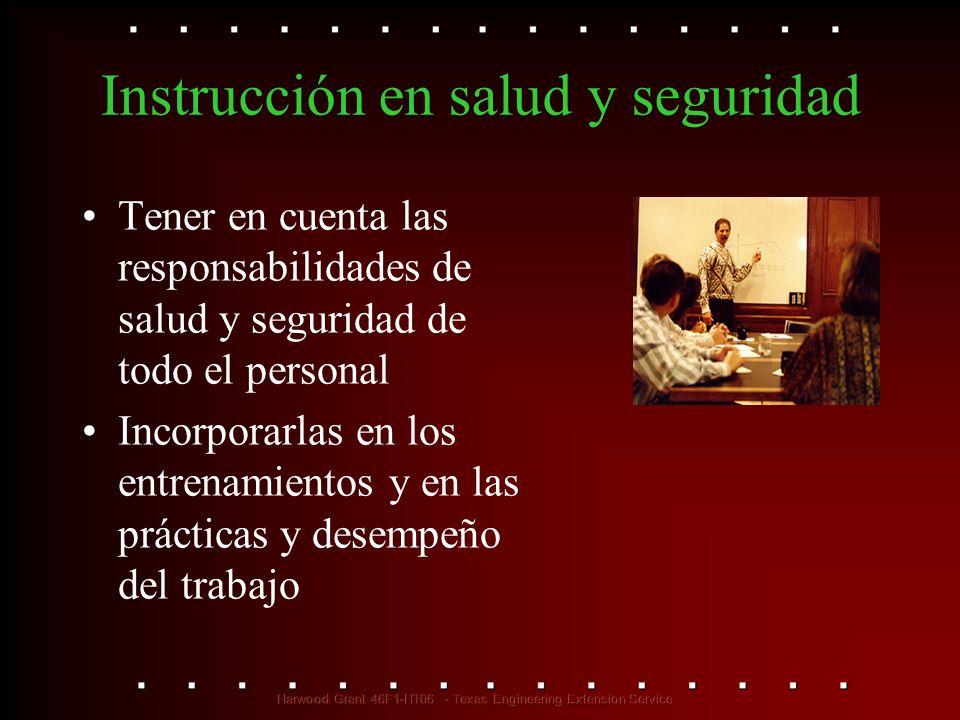 Instrucción en salud y seguridad