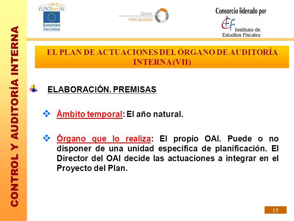 EL PLAN DE ACTUACIONES DEL ÓRGANO DE AUDITORÍA INTERNA (VII)