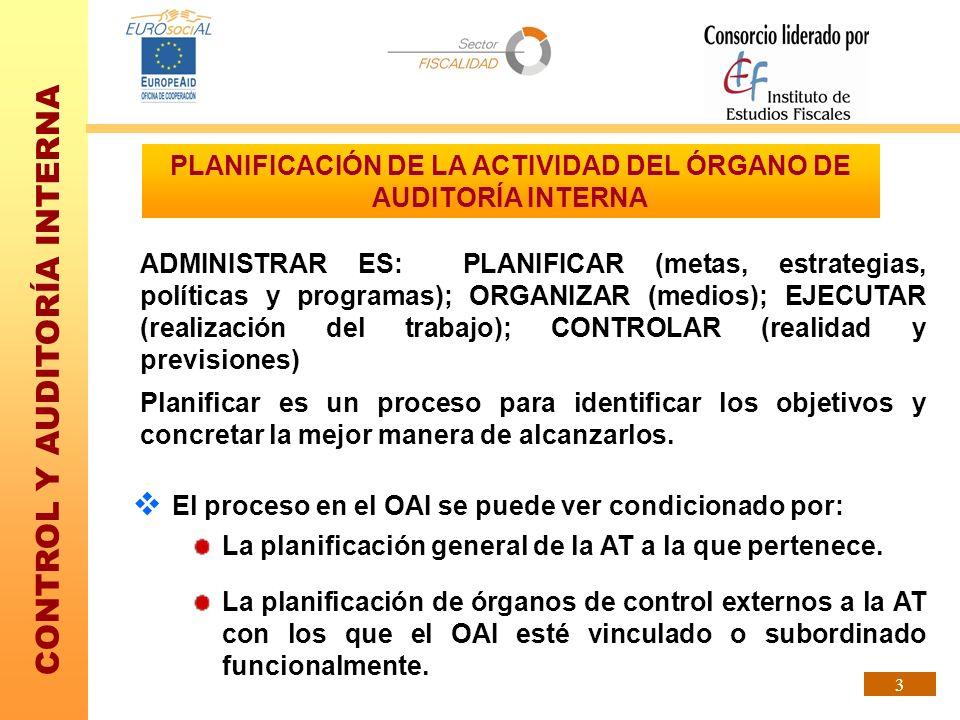 PLANIFICACIÓN DE LA ACTIVIDAD DEL ÓRGANO DE AUDITORÍA INTERNA