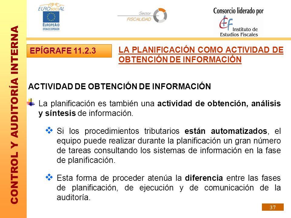 EPÍGRAFE 11.2.3 LA PLANIFICACIÓN COMO ACTIVIDAD DE OBTENCIÓN DE INFORMACIÓN. ACTIVIDAD DE OBTENCIÓN DE INFORMACIÓN.