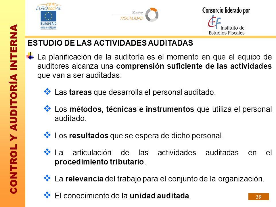 ESTUDIO DE LAS ACTIVIDADES AUDITADAS