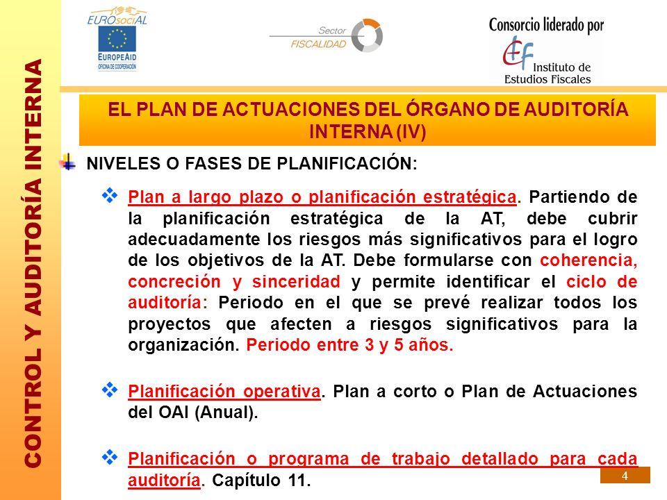 EL PLAN DE ACTUACIONES DEL ÓRGANO DE AUDITORÍA INTERNA (IV)