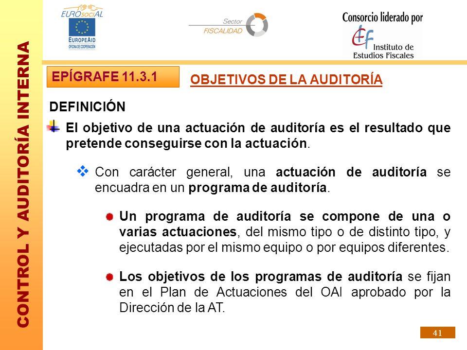 EPÍGRAFE 11.3.1 OBJETIVOS DE LA AUDITORÍA. DEFINICIÓN.