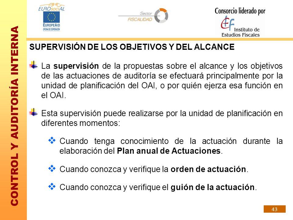 SUPERVISIÓN DE LOS OBJETIVOS Y DEL ALCANCE
