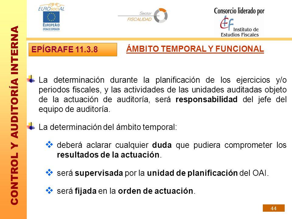 EPÍGRAFE 11.3.8ÁMBITO TEMPORAL Y FUNCIONAL.