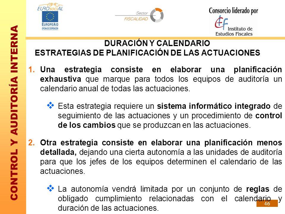 DURACIÓN Y CALENDARIO ESTRATEGIAS DE PLANIFICACIÓN DE LAS ACTUACIONES.