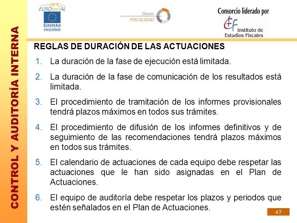 REGLAS DE DURACIÓN DE LAS ACTUACIONES