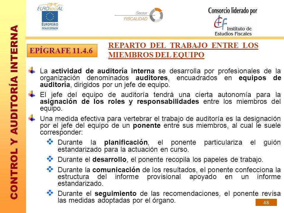 REPARTO DEL TRABAJO ENTRE LOS MIEMBROS DEL EQUIPO EPÍGRAFE 11.4.6