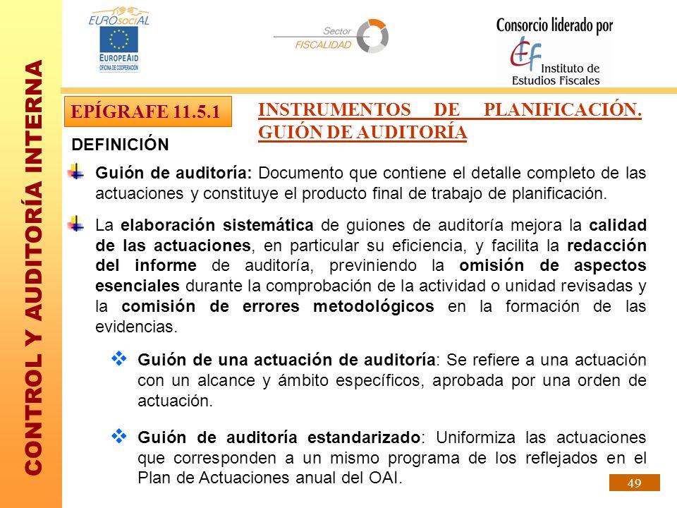 INSTRUMENTOS DE PLANIFICACIÓN. GUIÓN DE AUDITORÍA