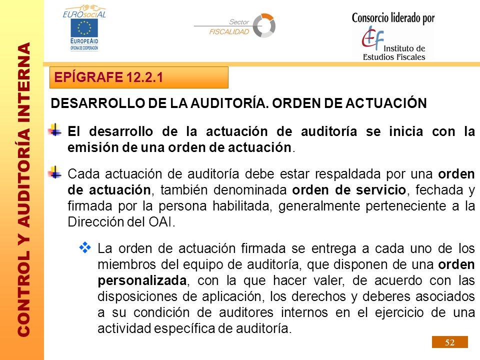 EPÍGRAFE 12.2.1 DESARROLLO DE LA AUDITORÍA. ORDEN DE ACTUACIÓN.