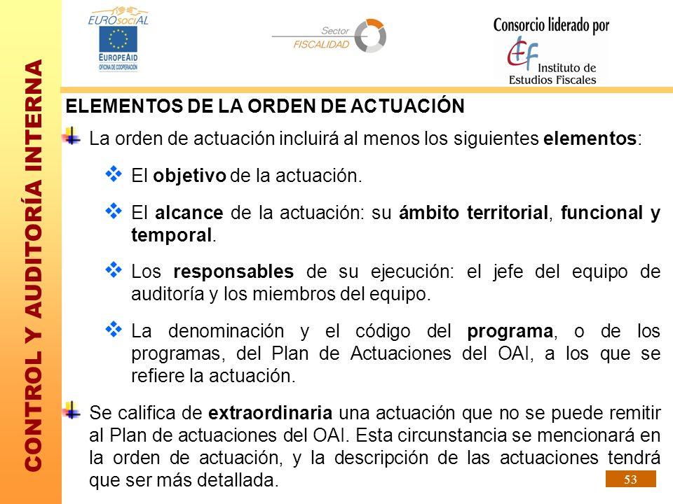 ELEMENTOS DE LA ORDEN DE ACTUACIÓN