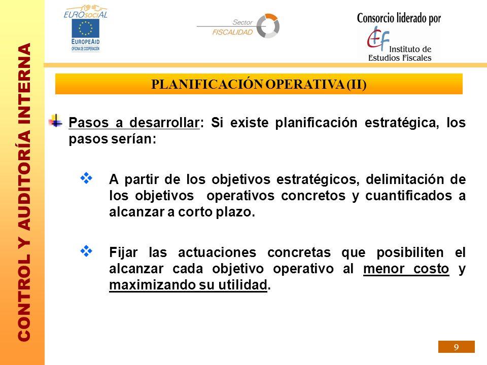 PLANIFICACIÓN OPERATIVA (II)