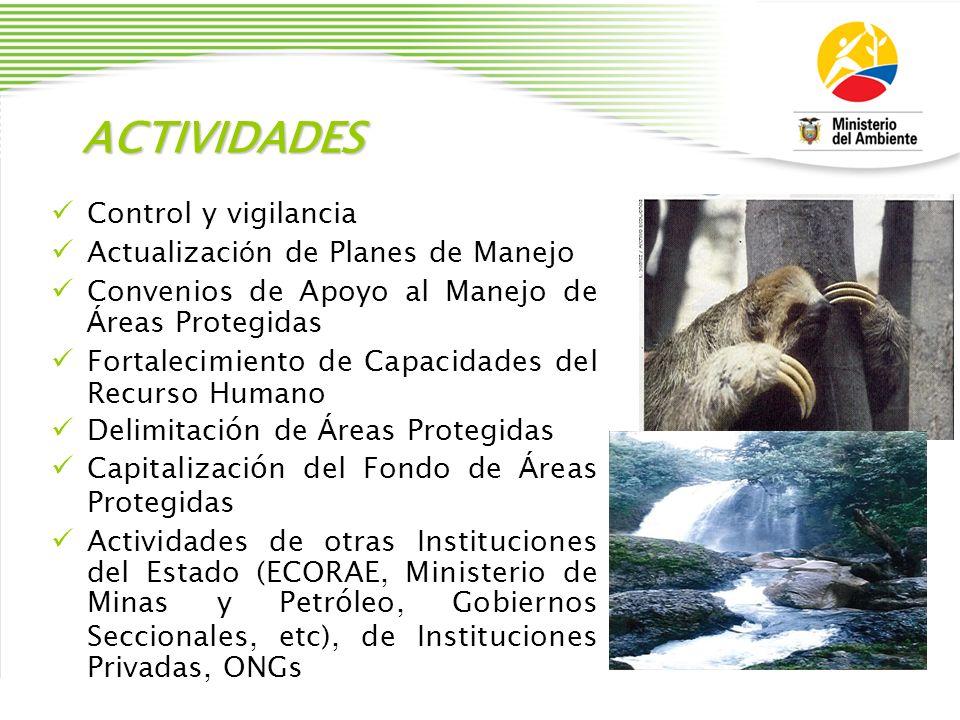 ACTIVIDADES Control y vigilancia Actualización de Planes de Manejo