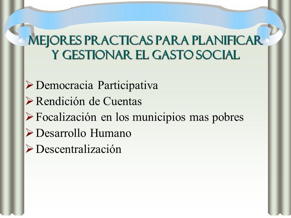 MEJORES PRACTICAS PARA PLANIFICAR Y GESTIONAR EL GASTO SOCIAL