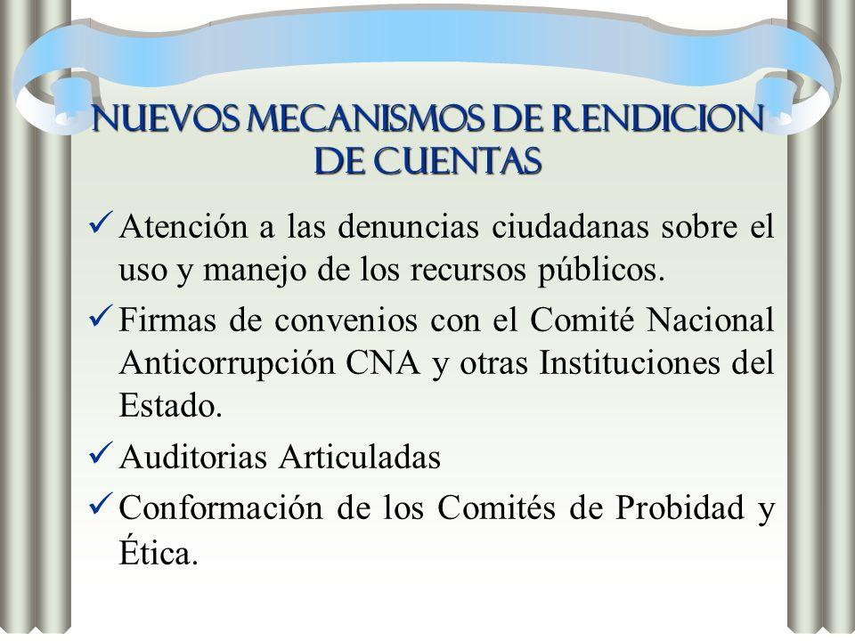 NUEVOS MECANISMOS DE RENDICION DE CUENTAS