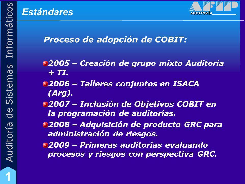 Estándares Proceso de adopción de COBIT: