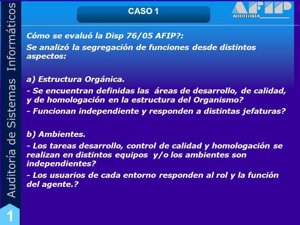 CASO 1 Cómo se evaluó la Disp 76/05 AFIP :