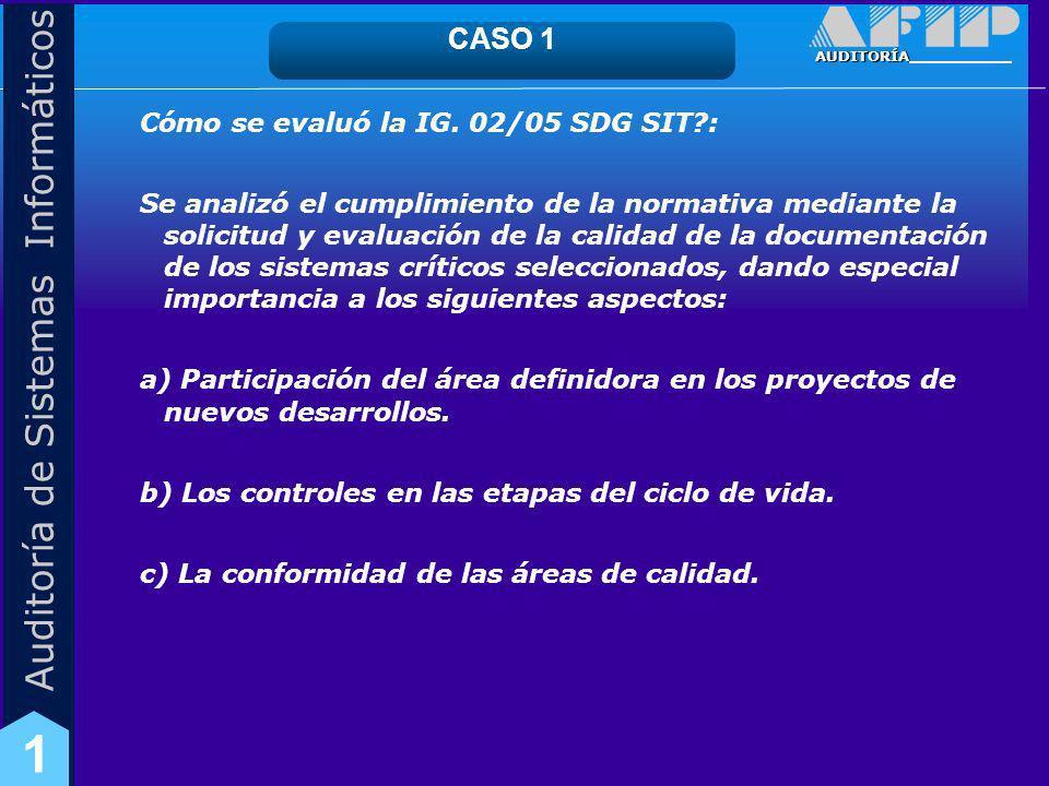 CASO 1 Cómo se evaluó la IG. 02/05 SDG SIT :