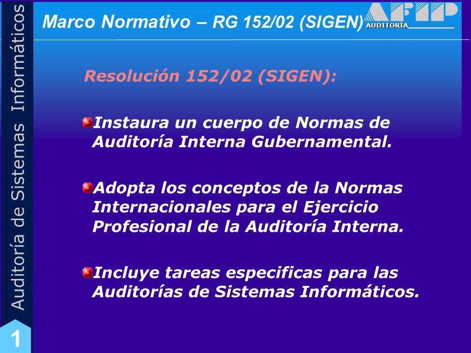 Marco Normativo – RG 152/02 (SIGEN)