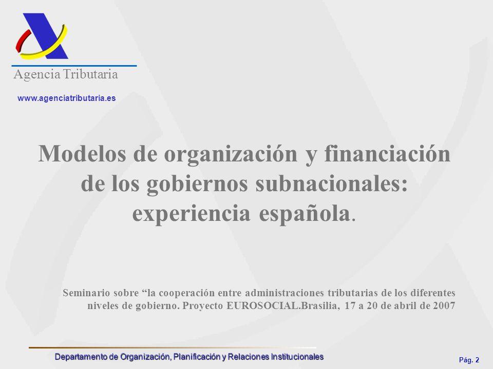Agencia Tributaria www.agenciatributaria.es. Modelos de organización y financiación de los gobiernos subnacionales: experiencia española.