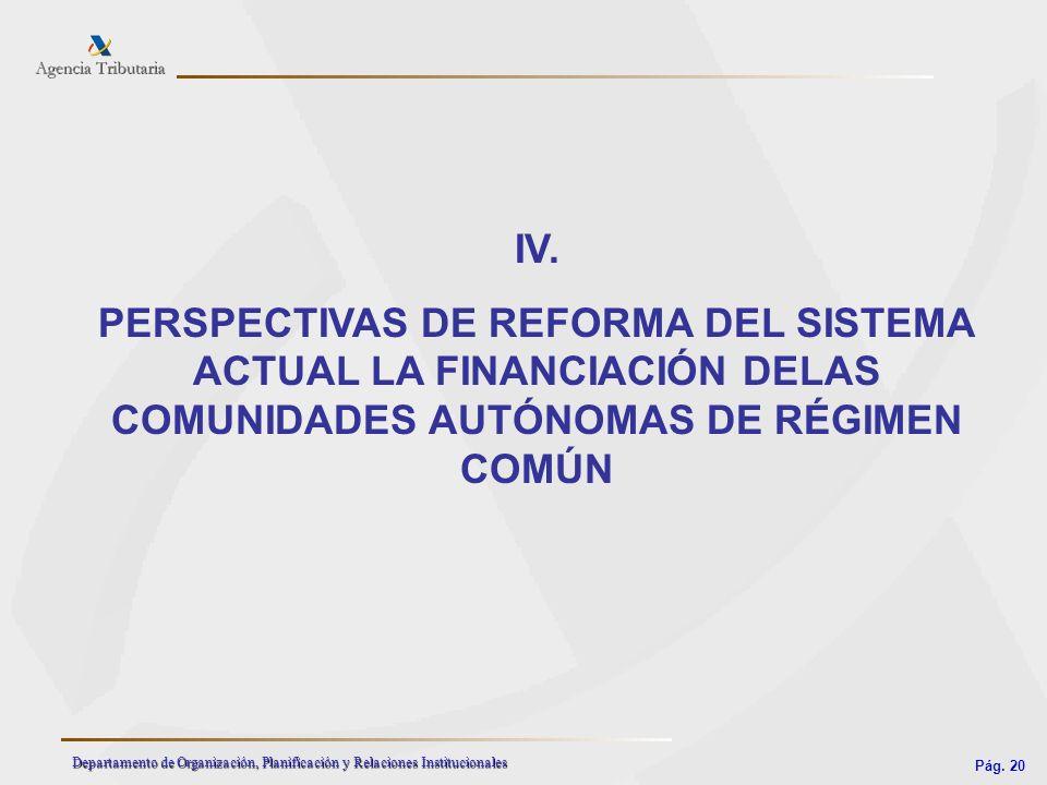 IV. PERSPECTIVAS DE REFORMA DEL SISTEMA ACTUAL LA FINANCIACIÓN DELAS COMUNIDADES AUTÓNOMAS DE RÉGIMEN COMÚN.