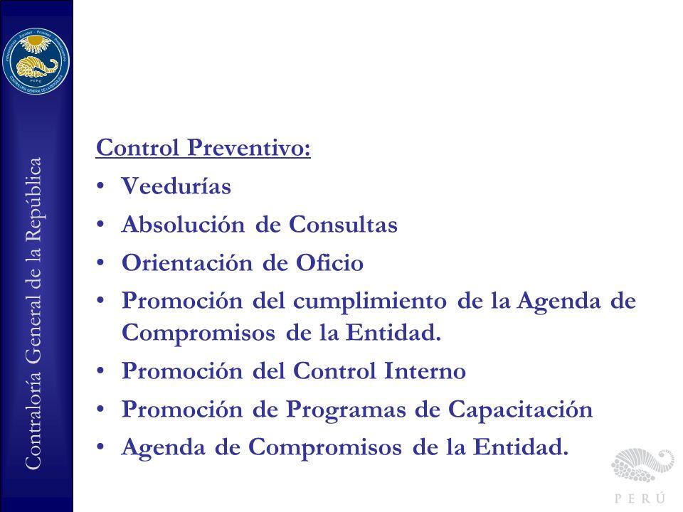 Control Preventivo:Veedurías. Absolución de Consultas. Orientación de Oficio. Promoción del cumplimiento de la Agenda de Compromisos de la Entidad.