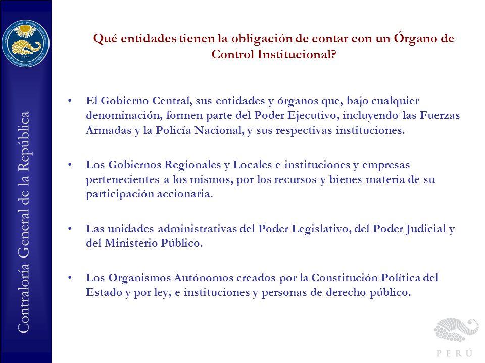 Qué entidades tienen la obligación de contar con un Órgano de Control Institucional