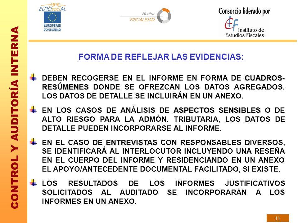 FORMA DE REFLEJAR LAS EVIDENCIAS: