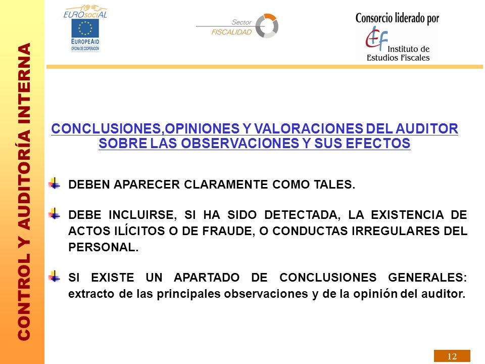 CONCLUSIONES,OPINIONES Y VALORACIONES DEL AUDITOR SOBRE LAS OBSERVACIONES Y SUS EFECTOS