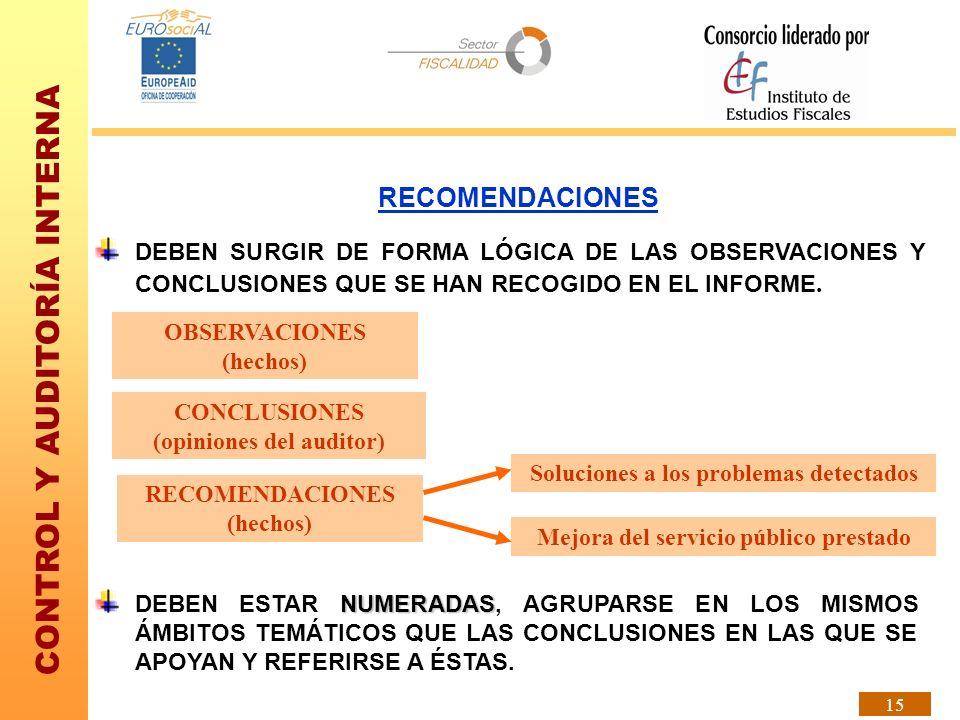 RECOMENDACIONES DEBEN SURGIR DE FORMA LÓGICA DE LAS OBSERVACIONES Y CONCLUSIONES QUE SE HAN RECOGIDO EN EL INFORME.