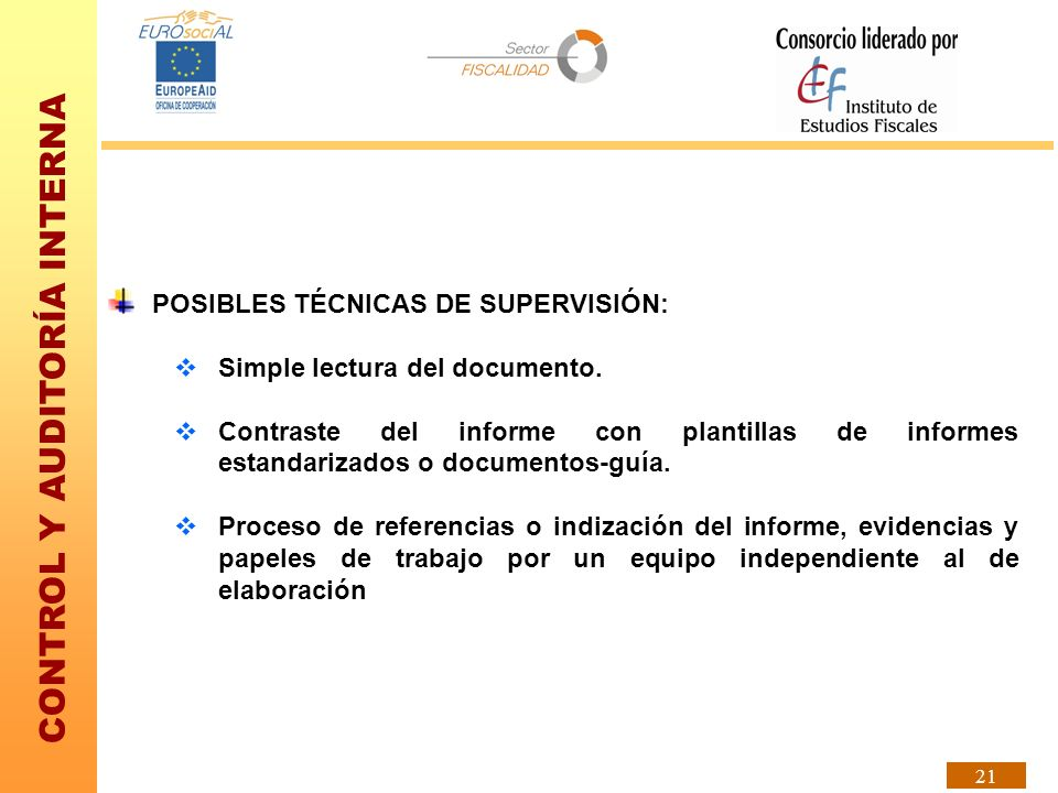 POSIBLES TÉCNICAS DE SUPERVISIÓN:
