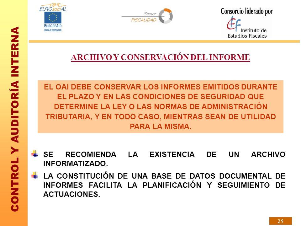 ARCHIVO Y CONSERVACIÓN DEL INFORME