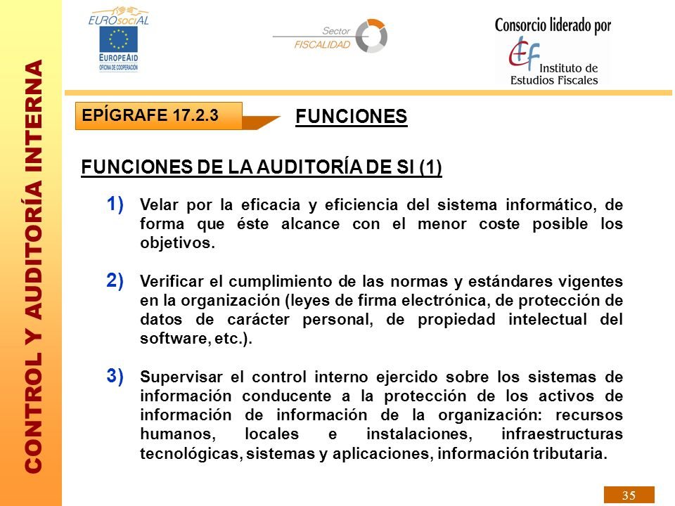 FUNCIONES DE LA AUDITORÍA DE SI (1)