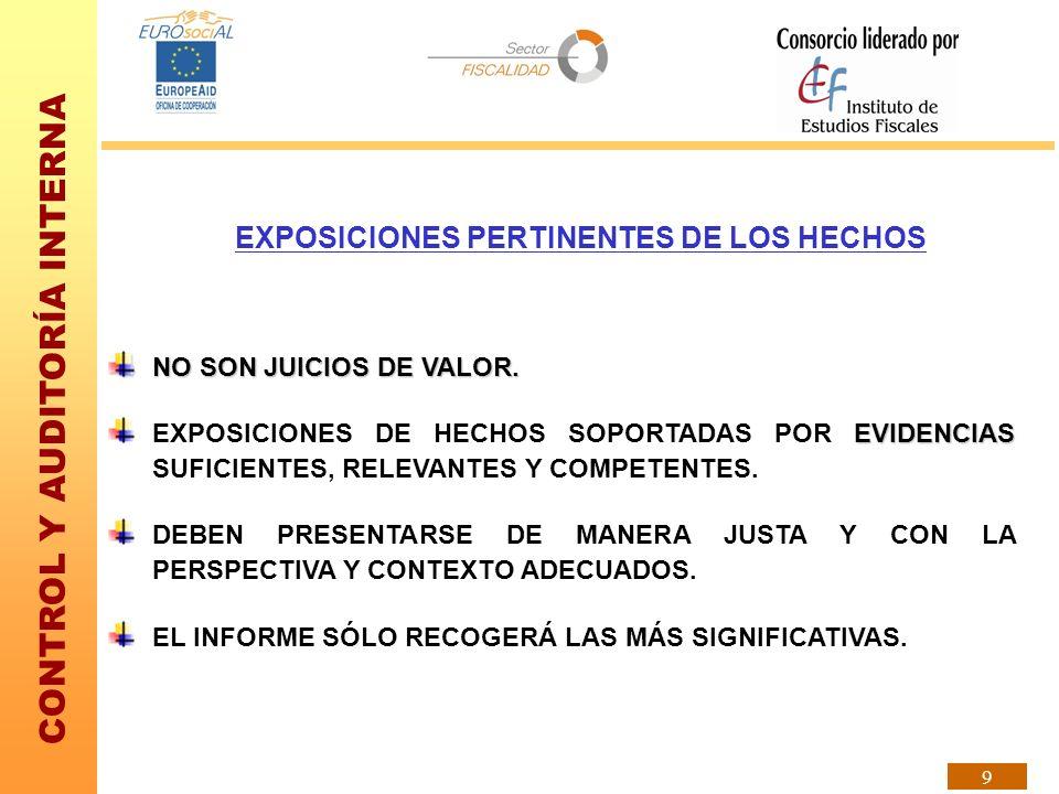 EXPOSICIONES PERTINENTES DE LOS HECHOS