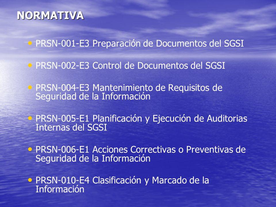 NORMATIVA PRSN-001-E3 Preparación de Documentos del SGSI