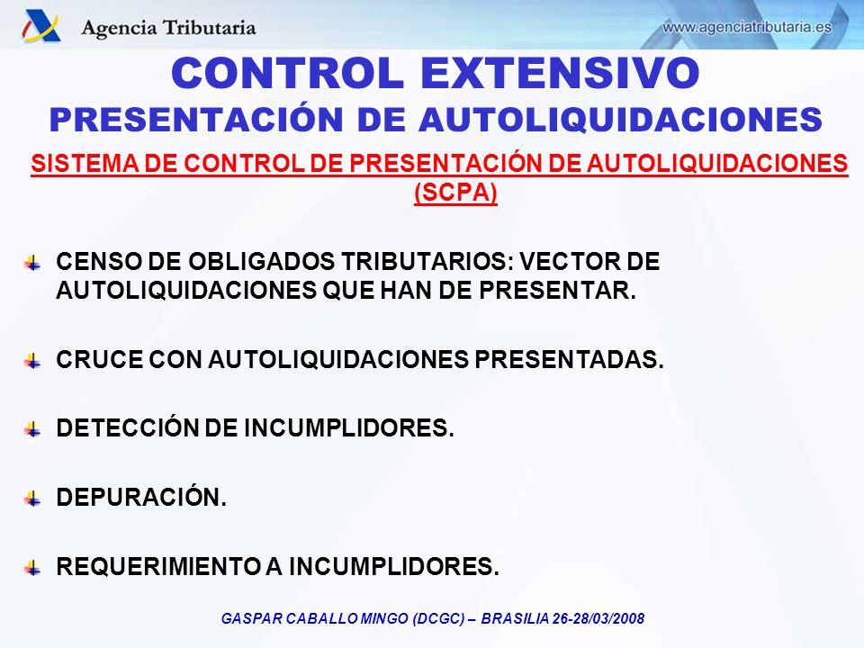 CONTROL EXTENSIVO PRESENTACIÓN DE AUTOLIQUIDACIONES