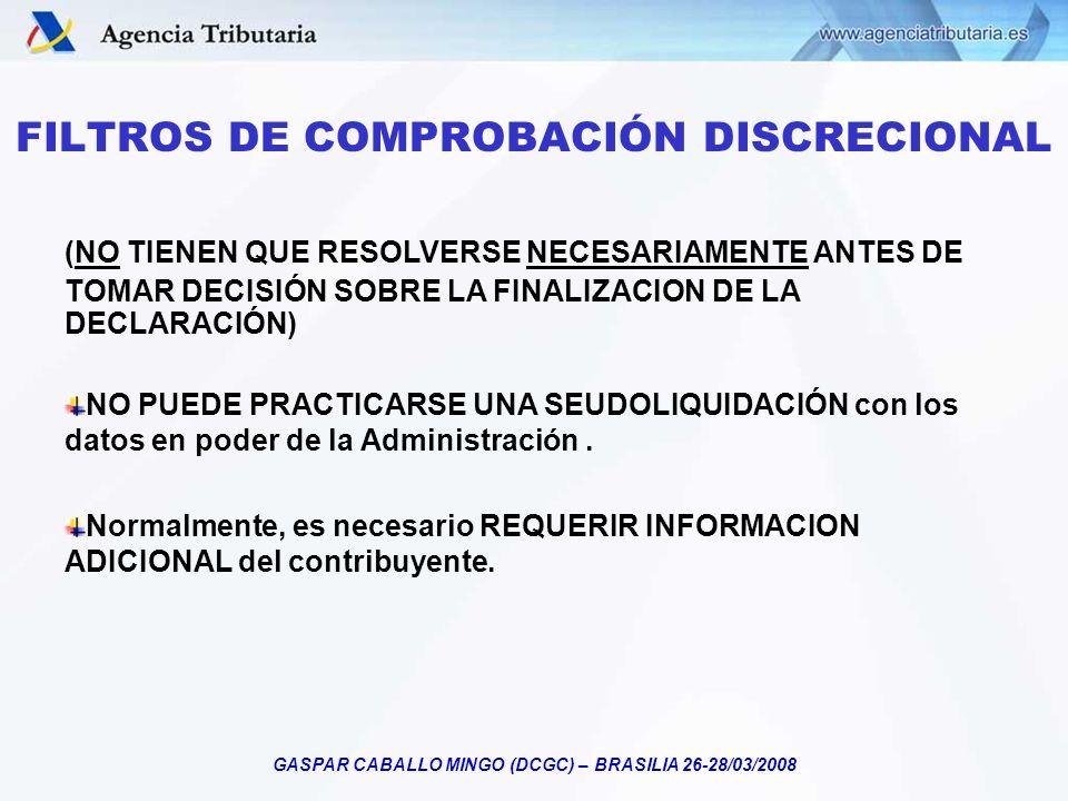FILTROS DE COMPROBACIÓN DISCRECIONAL