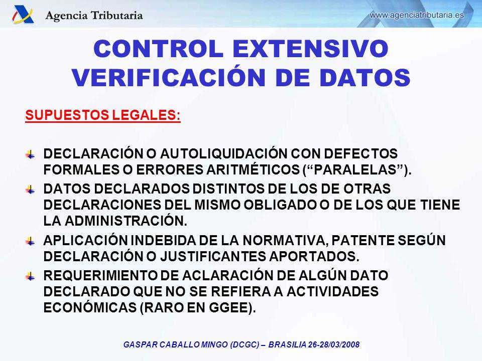 CONTROL EXTENSIVO VERIFICACIÓN DE DATOS