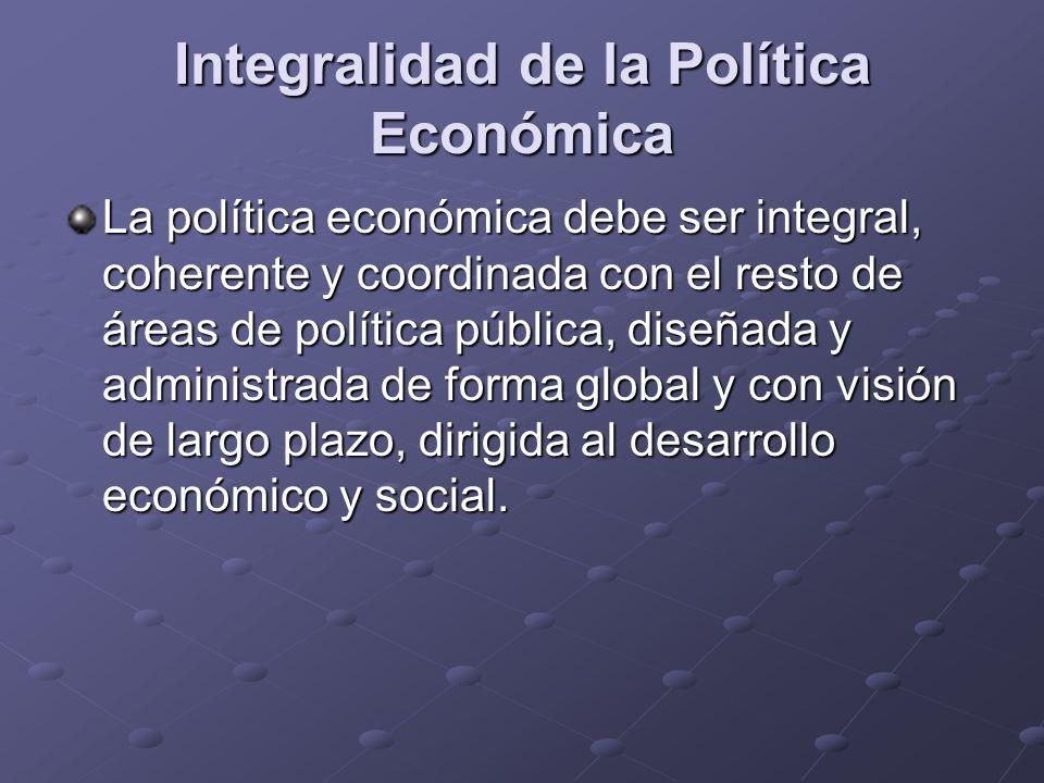 Integralidad de la Política Económica