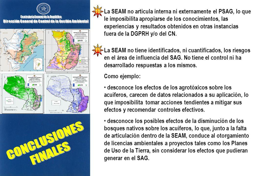 La SEAM no articula interna ni externamente el PSAG, lo que le imposibilita apropiarse de los conocimientos, las experiencias y resultados obtenidos en otras instancias fuera de la DGPRH y/o del CN.