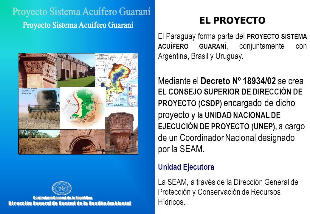 EL PROYECTOEl Paraguay forma parte del PROYECTO SISTEMA ACUÍFERO GUARANÍ, conjuntamente con Argentina, Brasil y Uruguay.