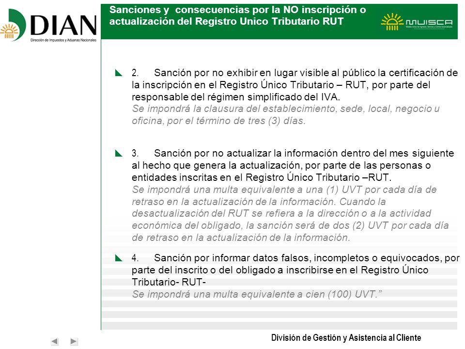 Sanciones y consecuencias por la NO inscripción o actualización del Registro Unico Tributario RUT