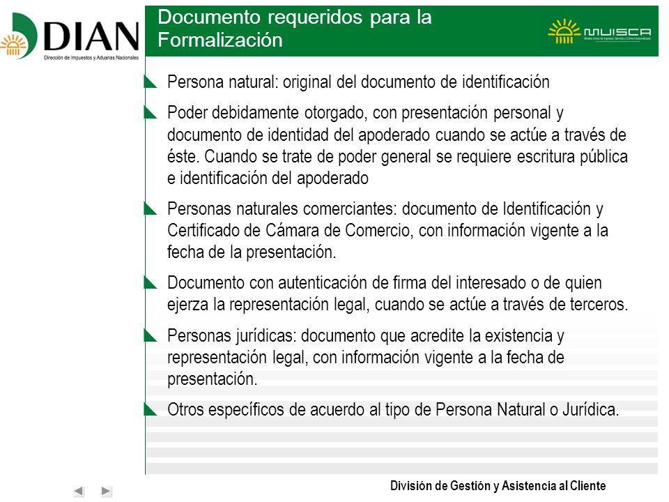 Documento requeridos para la Formalización
