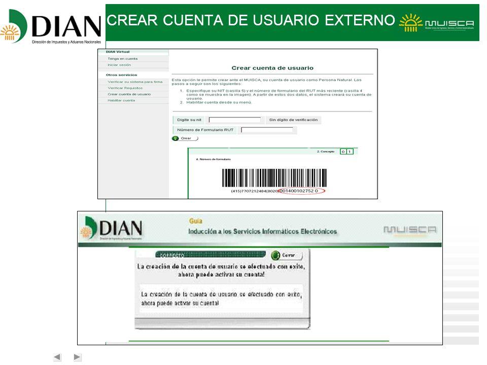 CREAR CUENTA DE USUARIO EXTERNO