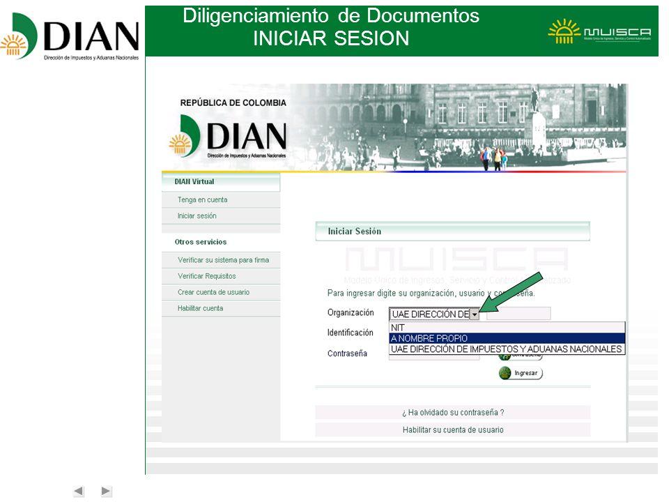 Diligenciamiento de Documentos INICIAR SESION